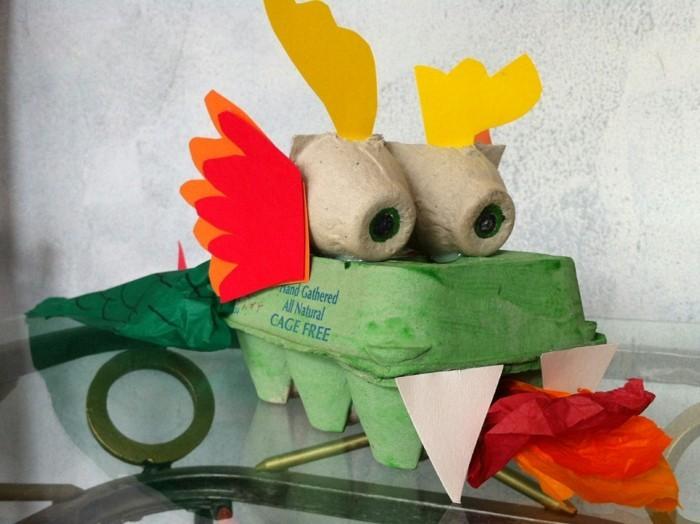 resycling basteln mit eierkarton basteln mit kindern basteln mit klopapierrollen drache