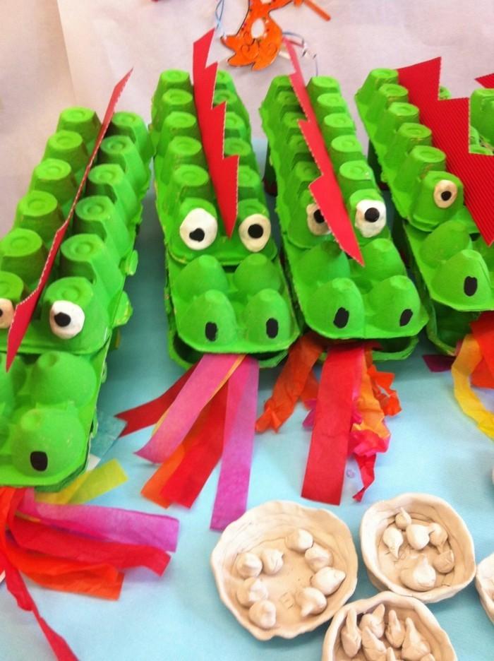 resycling basteln mit eierkarton basteln mit kindern basteln mit klopapierrollen krokodilen