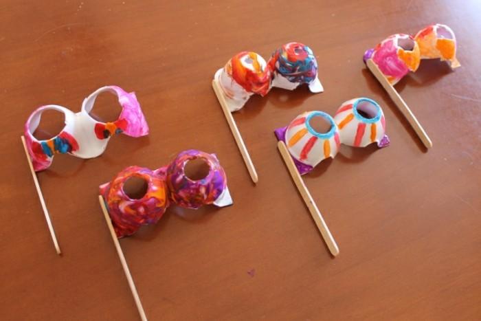 resycling basteln mit eierkarton basteln mit kindern basteln mit klopapierrollen maske
