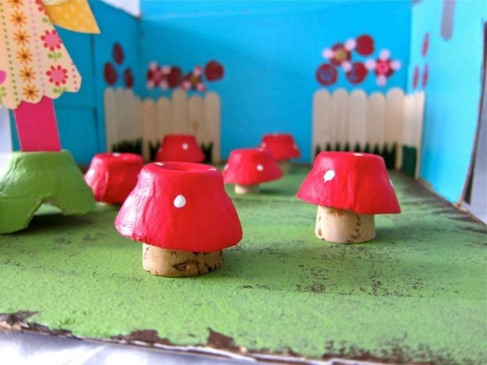 resycling basteln mit eierkarton basteln mit kindern basteln mit klopapierrollen pilze