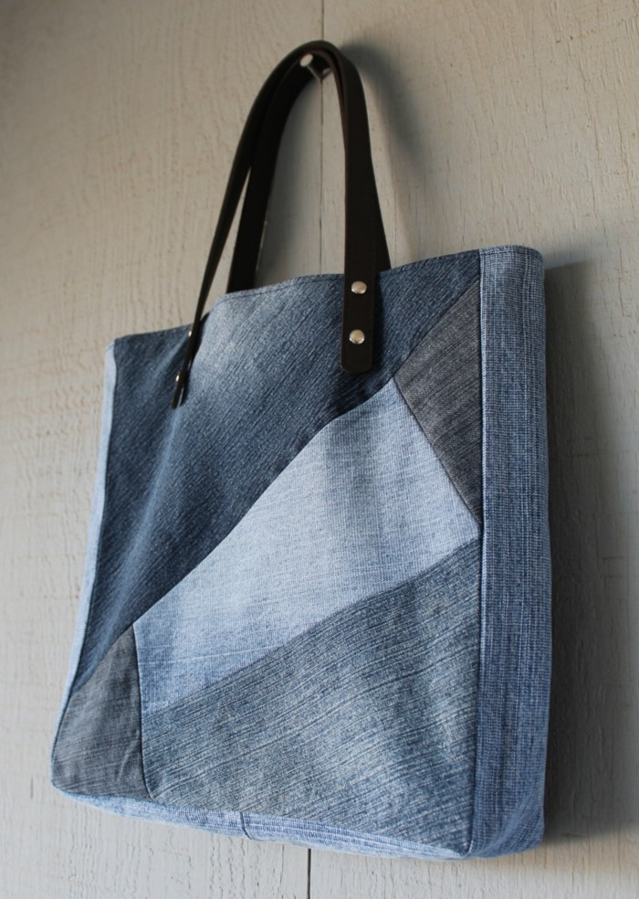 stoffbeutel naehen upcycling ideen jeans recycling