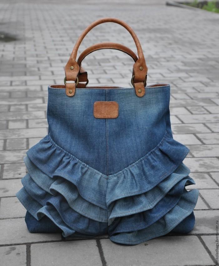 stoffbeutel naehen upcycling ideen jeans verwerfen