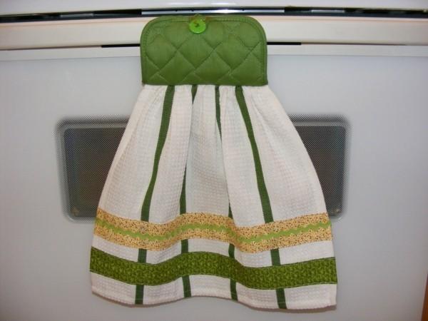 tolle grün weiße idee für diy geschirrtücher