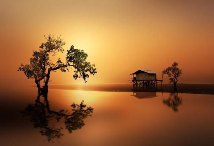 tolle stilisierte landshaft wandbilder