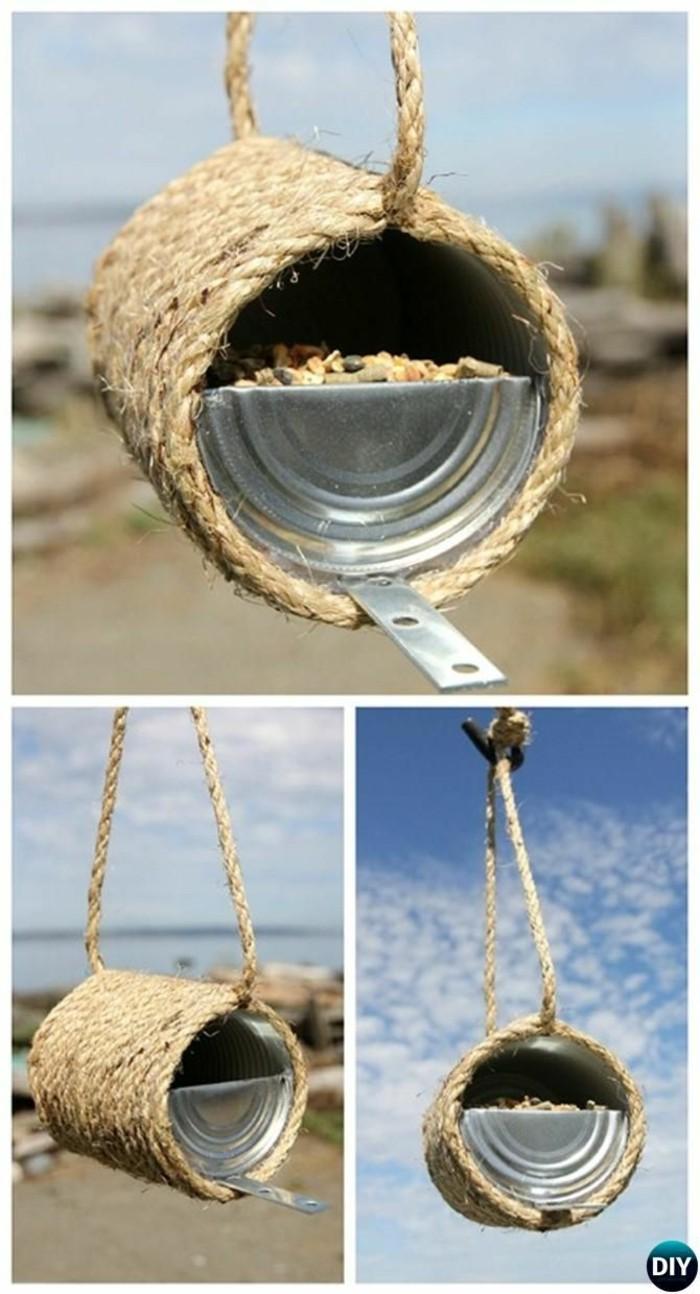 upcycling ideen recycling basteln muell reduzieren vogelfutterhaus selber bauen blechdose