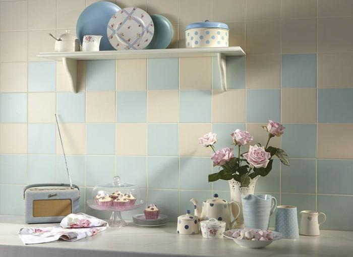 vintage fliesen retro stil pastellfarben wohnideen küche