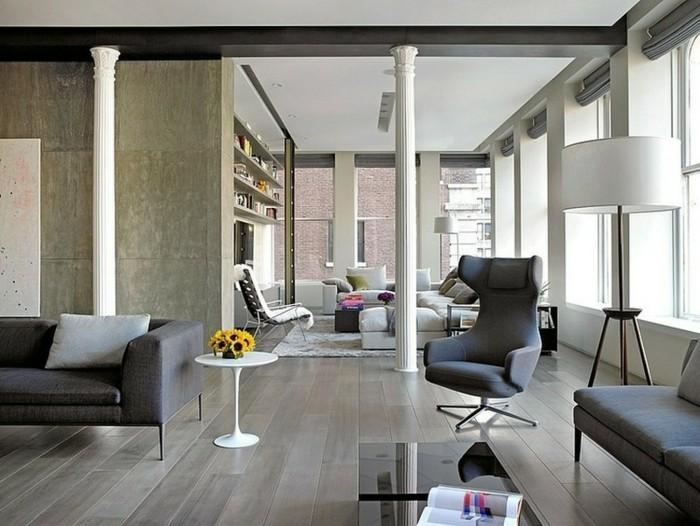 wandfliesen wohnzimmer großformatige fliesen graues interieur