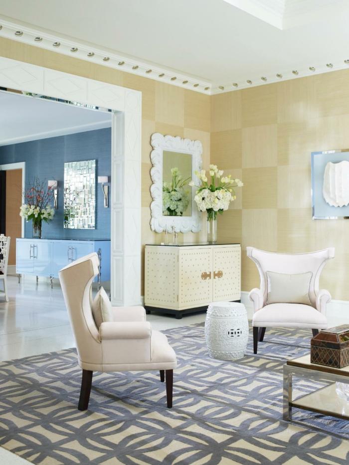 wandfliesen wohnzimmer keramikfliesen gelbnuancen stilvoller teppich