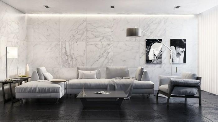 wandfliesen wohnzimmer marmor stilvolles design dunkler bodenbelag