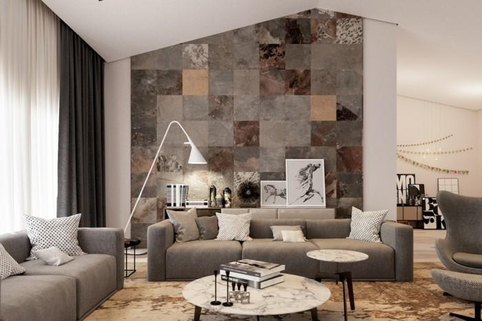 wandfliesen wohnzimmer schöner teppich beige grau kombinieren