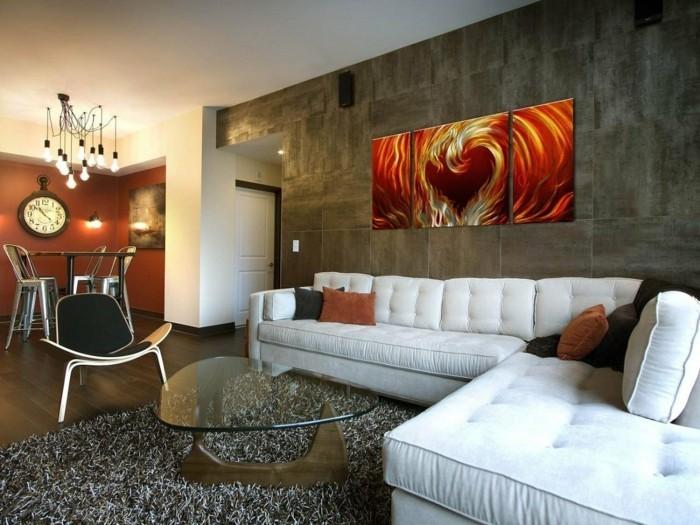 wandfliesen wohnzimmer stilvolle wandgestaltung weißes ecksofa