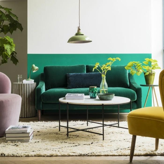 wohnzimmer lampen leuchten trends 2018 stilmix perser teppich gruen
