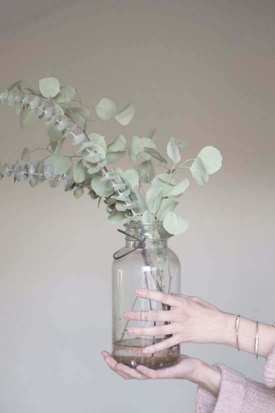 Baby Blue Eukalyptusblatter in Vase arrangiert