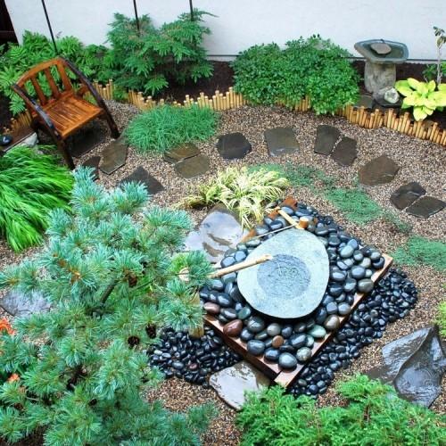 Gartenideen Gartengestaltung Feng Shui runde Steine das weibliche Yin