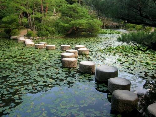Gartenideen nach Feng Shui Wasserteich Holzstöcke Wasservegetation