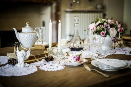 Kerzen Perlen typisch Vintage Tee Party Deko