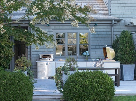 Kleine Outdoor Küche direkt am Haus viele Pluspunkte