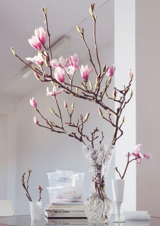 Magnolie Blüten Vase Deko