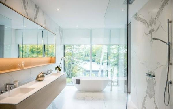 Marmor Maserung Wände bad neu gestalten