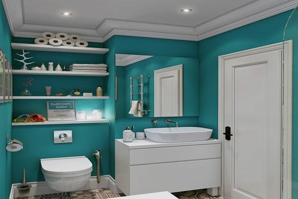 Minzgrüne Hintergrund Wändebad neu gestalten
