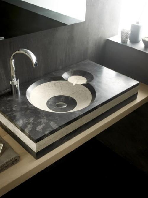 Naturstein Waschbecken Design in Schwarz und Weiß