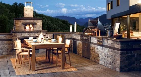 Outdoor Küche Essbereich für angenehme Sommerabende im Freien