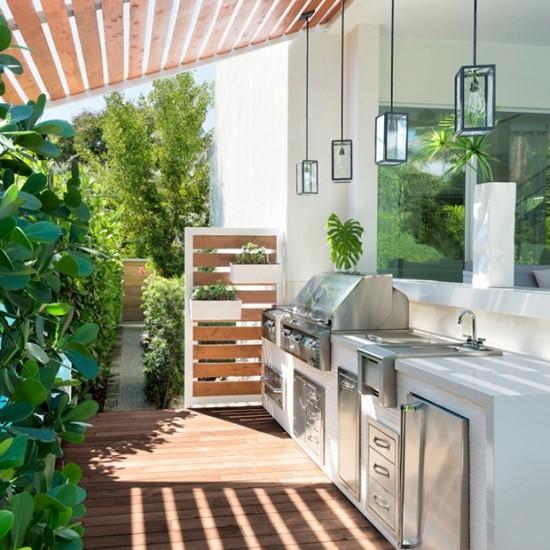 Outdoor Küche klein modern gestaltet komplett