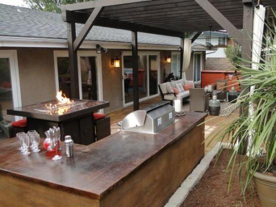 Outdoor Küche offene Feuerstelle