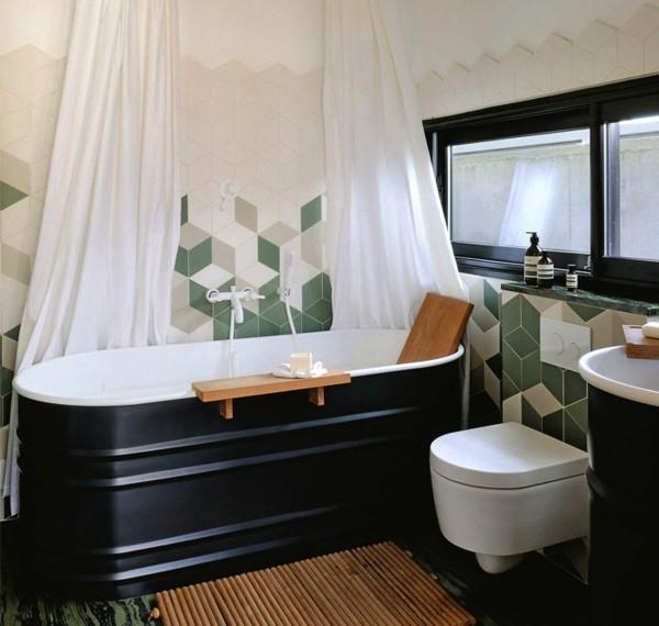 Schwarz-weiße Badewanne bad neu gestalten