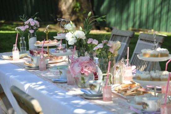 Vintage Tee Party Deko Pastellfarben