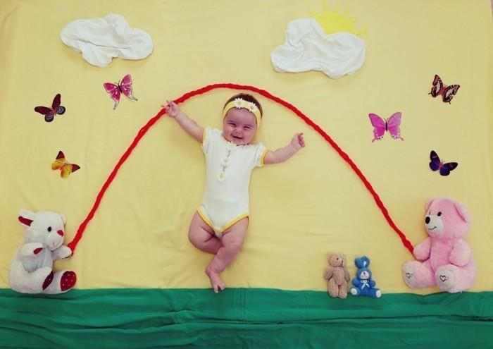 baby fotos ideen fotoshooting ideen kreativ lustige babybilder seil springen