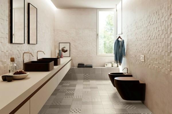 bad neu gestalten Wände mit interessanter Textur
