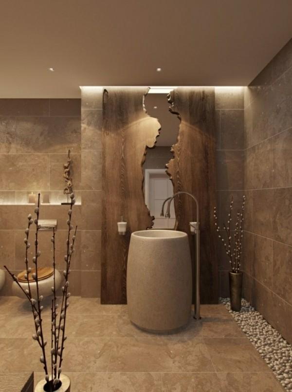 badezimmer braun ausgefallenes baddesign steine