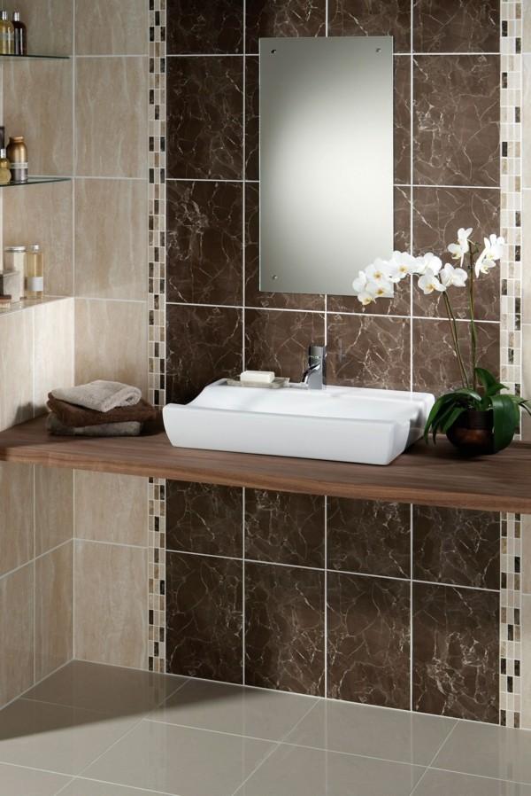 Badezimmer Braun Beige Badezimmerfliesen Kombinieren Hellgrauer Boden