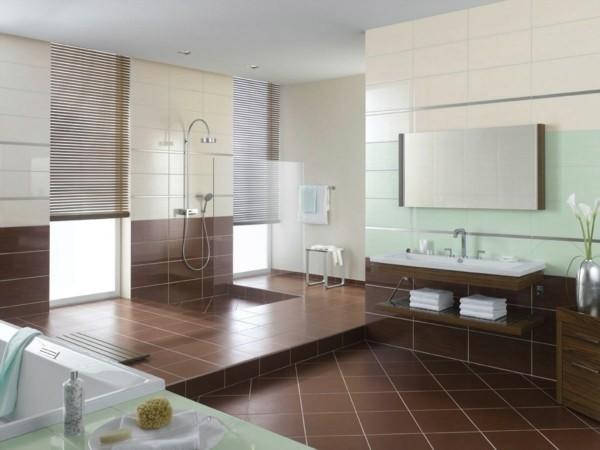 badezimmer braun kombination mit hellgrün beige