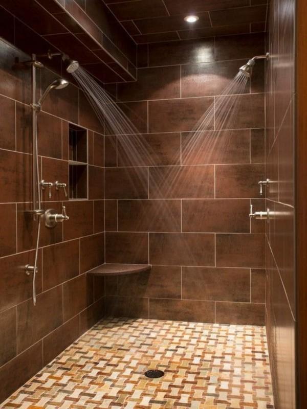 badezimmer braun schöner boden kleines bad dusche