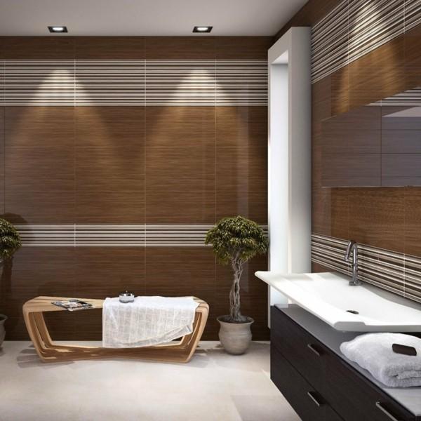 badezimmer braun schönes wanddesign weißer bodenbelag