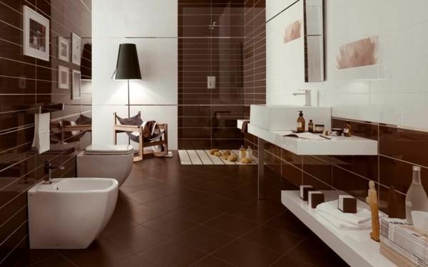badezimmer braun weiß frisches baddesign