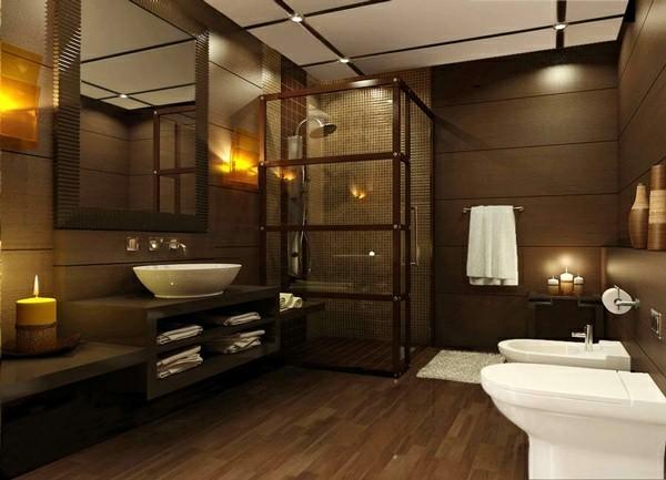 badezimmer braun weiße elemente kerzen romantische stimmung