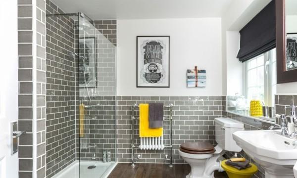 Badezimmer Grau Graue Metro Fliesen Gelbe Akzente