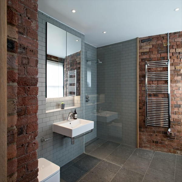 badezimmer grau kombination mit steinwänden