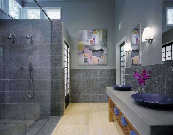 badezimmer grau modernes bad wandbilder blumen