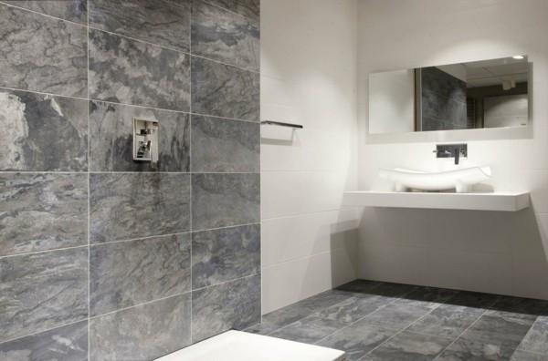 badezimmer grau schöne optik weiße elemente