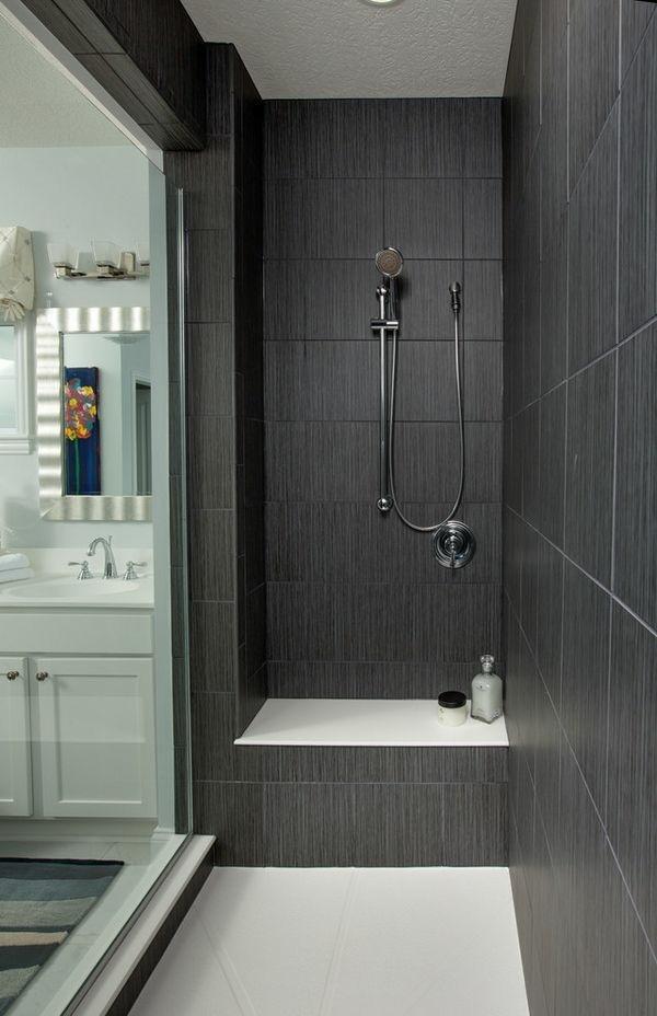 badezimmer grau schöne wandfliesen stauraum ideen