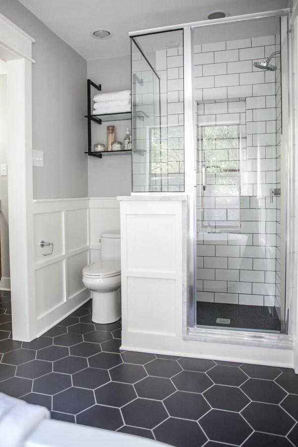 badezimmer grau schöner bodenbelag hellgraue wände