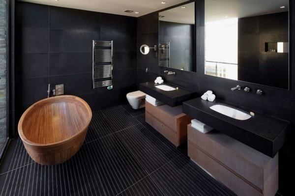 Badezimmer Schwarz Ausgefallene Badewanne Holzoptik Badspiegel