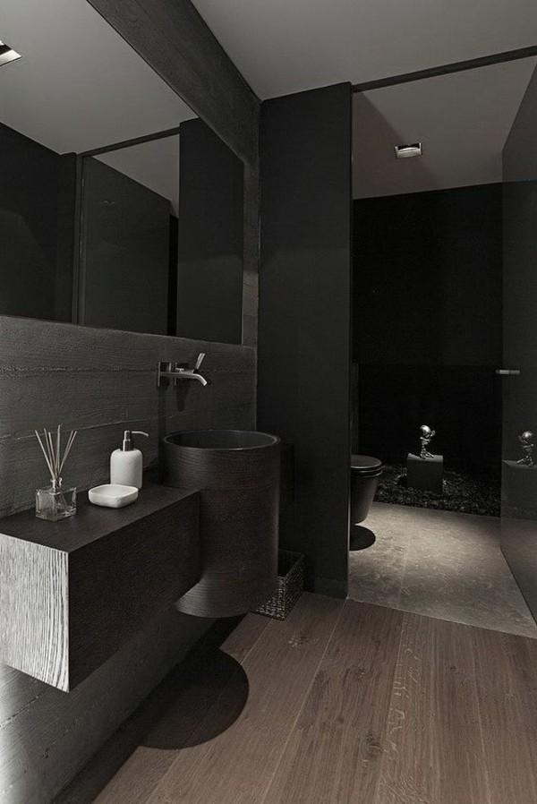 badezimmer schwarz dunkles wanddesign elegantes baddesign