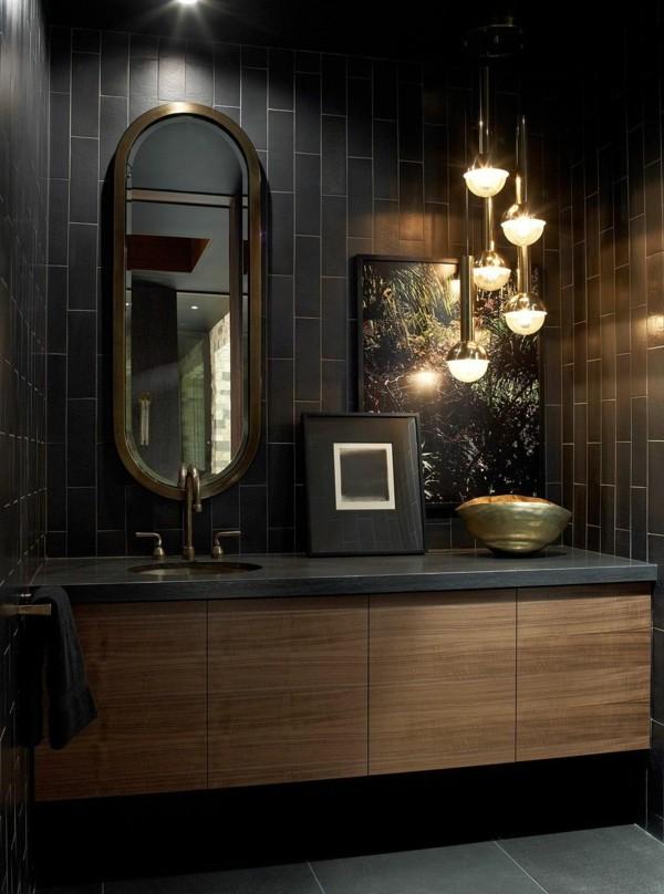 badezimmer schwarz elegante badmöbel schwarze wandfliesen senkrecht pendelleuchten