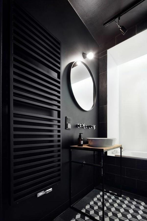 badezimmer schwarz kleines bad gestalten schöner boden