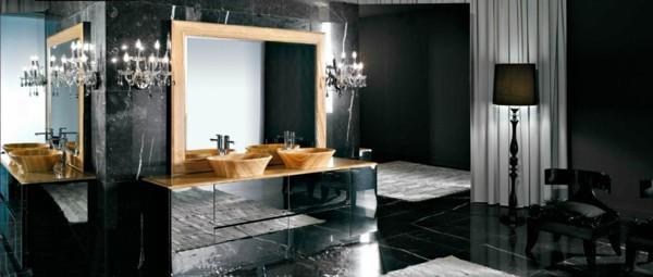 badezimmer schwarz luxuriöses badezimmer gestalten hölzerne akzente